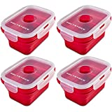 Polystock Collapsible Silicone Food Storage Containers, Set of 4 - Stackable Small Lunch
