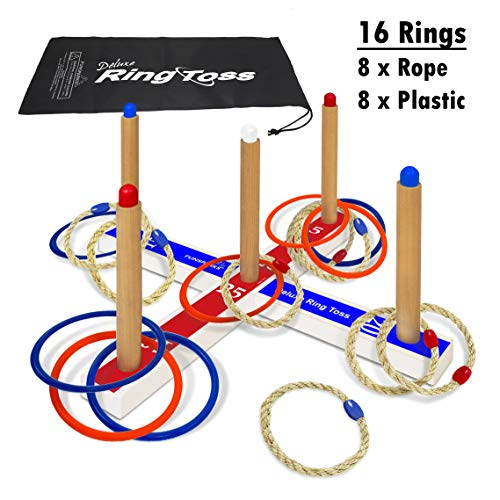 Ring Toss Deluxe Outdoor & Indoor Game – Toss Yard Game - Includes 16 Rings, 8 Rope & 8 Plastic. Carry Bag Included - Easy to Assemble - Fun Family and Friends Game