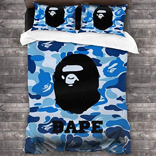 NA-1 Ba-pe Blue Camo Logo Poster Duvet Cover Bedding Sheet Set, 3 Piece Set Soft Luxurious(Duvet Cover + 2 Pillowcases)