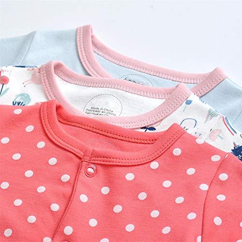 Minizone Nursery Time Baby Girls 3 Pack Sleeveless Env Neck Cotton Bodysuit Body Vest, Red, 9-12 Months
