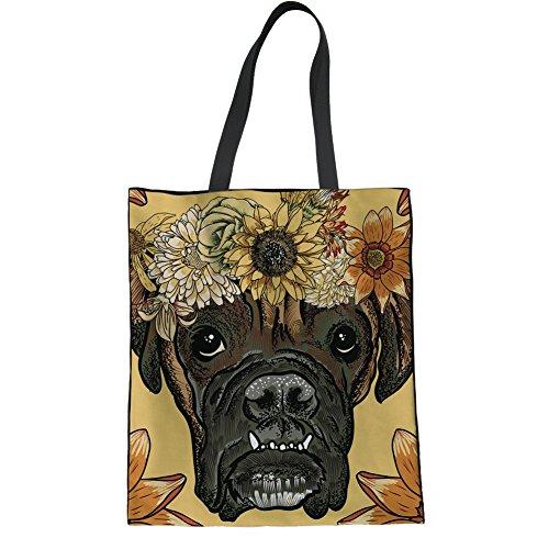 HUGS IDEA Stylish Dog Print Canvas Tote Bag Shopping Travel Leisure Shoulder Bag Handbag