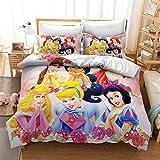 DDONVG Juego de ropa de cama de princesas Disney, funda de edredón para niñas y niños, microfibra, color rosa, funda de almohada de 50 x 75cm y funda nórdica de 135 x 200cm (A, 220 x 240cm)