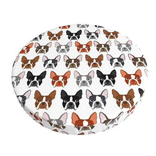 Round Bar Stools Cover,Boston Terrier Boston Hund Haustiere Hund,Stretch Chair Seat Bar Stool Cover Seat Cushion Slipcovers Chair Cushion Cover Round Lift Chair Stool