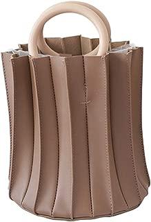 TOOGOO Vintage Three-Dimensional Pleated Bucket Bag Wooden Ring Top Handle Women Handbag Designer Crossbody Bags Evening Clutch Purse Black