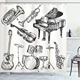 Ambesonne Jazz Music Shower Curtain, Illustration of Musical Instruments Sketch Style Art Trumpet Piano Guitar, Cloth Fabric Bathroom Decor Set with Hooks, 75' Long, Beige Black