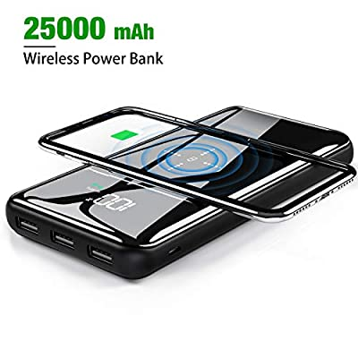 Gnceei Power Bank,Wireless Charger 25000mAh Fiber glass Surface 2019 Upgrade Version Type-C High Speed External Battery Pack of Exact Digital Display 3 USB Ports for iPhone,iPad,Samsung More …