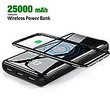 Gnceei Power Bank Chargeur portable sans fil 25000 mAh Ultra compact haute vitesse Batterie externe avec affichage numérique Exact Triple ports USB Panneau en verre