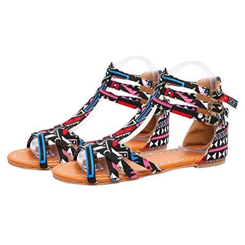 Happyyami 1 par de Sandalias Planas Bohemias Sandalias de Verano Estilo Étnico Sandalias de PU Zapatos de Mujer para El Hogar Playa Exterior Tamaño Negro 39