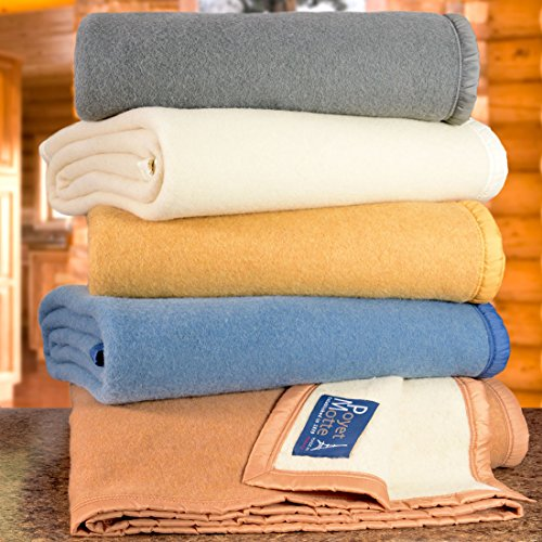 Poyet Motte Aubisque 500GSM Heavyweight 100-Percent Wool Blanket, Maise/Natural (King Size)
