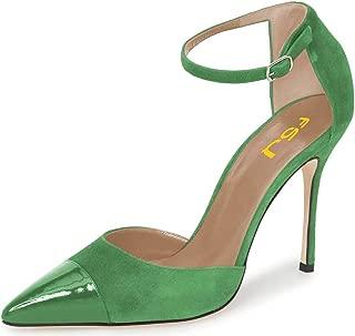 FSJ Women Stiletto High Heels D'Orsay Pumps Pointed Cap Toe Ankle Strap Office Dress Shoes Size 4-15 US