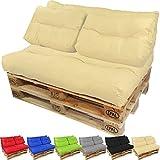 PROHEIM Cojines para palets Lounge - Cree un Elegante sofá Acolchado en Palet - Repelentes al Agua Ideal para Exteriores - (NO ES UN Set!!), Color:Crema, Variante:2 Cojines pequeños de Respaldo