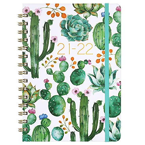 Planner 2021-2022 - Academic Planner 2021-2022 with Weekly & Monthly Spread, Jul 2021 - Jun 2022, 8.5' x 6.4', Flexible Hardcover, Strong Twin - Wire Binding, Thick Paper, 12 Monthly Tabs, Inner Pocket, Elastic Closure, Inspirational Quotes