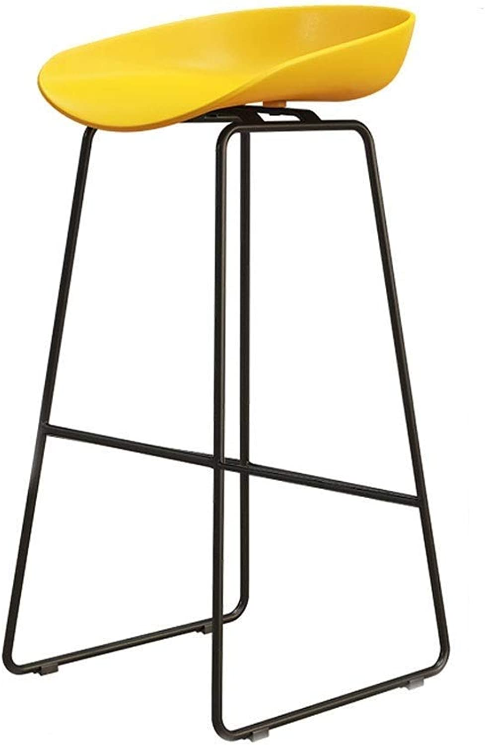 Nordic Wrought Iron Bar Stool High Stool for Family Front Desk Coffee Shop Kitchen Multi-color Size Optional (color   Yellow, Size   42  44  45cm)