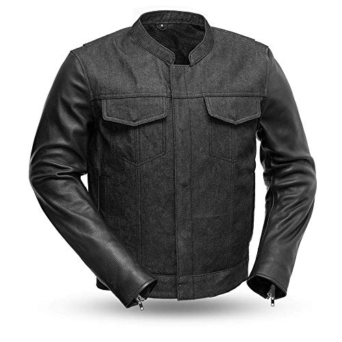 First Mfg Co Mens Cutlass Rough Neck Raw Denim with Leather Sleeves Motorcycle Jacket (Black, Large)