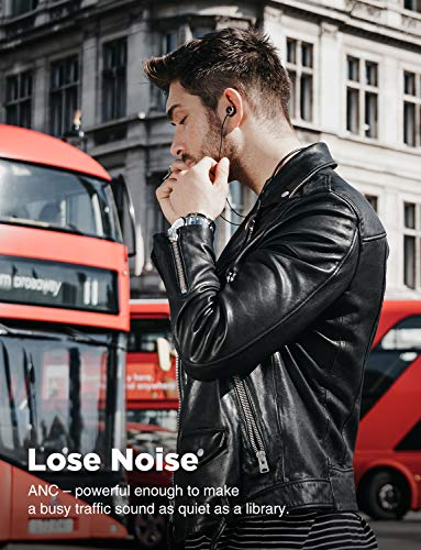 COWIN HE5A Active Noise Cancelling Headphones Bluetooth Headphones Wireless Headphones Stereo Earbuds with Mic, Bluetooth 4.2 Sports Neckband Headset 8 Hrs Playtime - Black