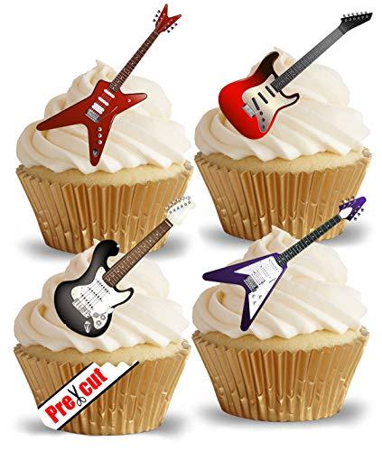 Essbare Cupcake-Dekoration, vorgeschnitten, Motiv: elektrische Gitarre, Reis-/Waffelpapier, für Partys, Geburtstag, Hochzeit, Metal-/Rockmusik-Dekoration