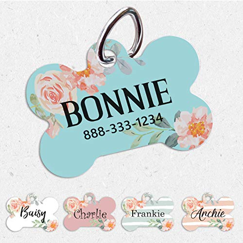 Pet ID Tag   Single/Double Sided Dog   Tag for Dog   ID Tag Floral   Custom Pet Tag   French Floral Dog Tag   Personalized Floral Pet Tag