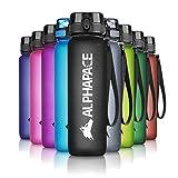 ALPHAPACE Trinkflasche, auslaufsichere 1.000 ml Wasserflasche, BPA-freie Flasche für Sport, Fahrrad & Outdooraktivitäten, Sportflasche mit Fruchteinsatz, in Schwarz