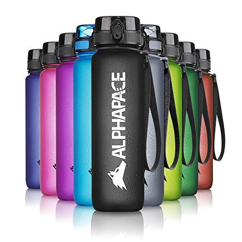 ALPHAPACE Trinkflasche, auslaufsichere 500 ml Wasserflasche, BPA-freie Flasche für Sport, Fahrrad & Outdooraktivitäten, Sportflasche mit Fruchteinsatz, in Schwarz