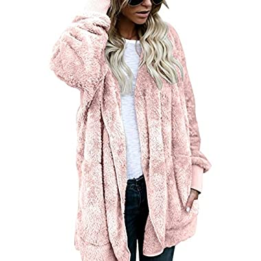 ThusFar Fuzzy Fleece Open Front Hooded Cardigan Jacket Coat Outwear with Pocket for Women Pink M
