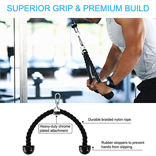 PELLOR Pulley Cable Machine Professional Muscle Strength Fitness Equipment Forearm Wrist Roller Training for LAT Pulldowns, Biceps Curl, Triceps Extensions Workout Straight Curved
