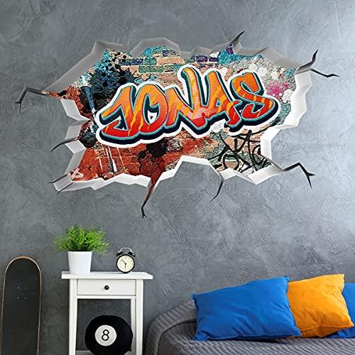 tjapalo®vr156 3D Wandtattoo Graffiti Name Wandaufkleber Kinderzimmer Junge wandtattoo Teenager Cool Wandtattoo Kinderzimmer Name, Größe: B50xH29cm