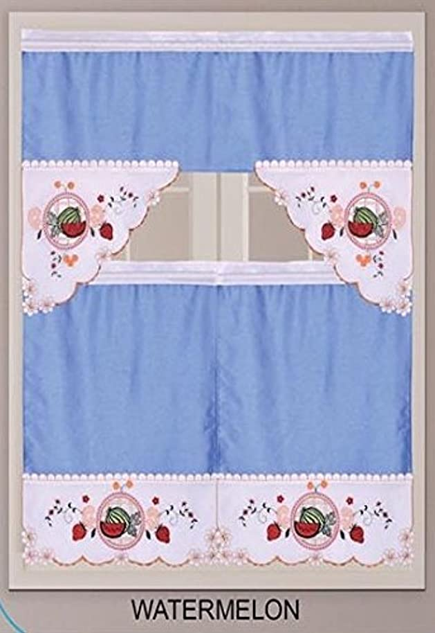DINY Home Collection New 3pc Embroidered Kitchen Curtain Set (Swag Valance and Two Tiers, Watermelon) Blue