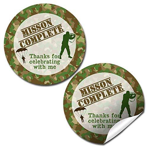 Mission Complete Top Secret Army Soldier Themed Thank You Sticker Labels, 40 2' Party Circle Stickers by AmandaCreation, Great for Party Favors, Envelope Seals & Goodie Bags