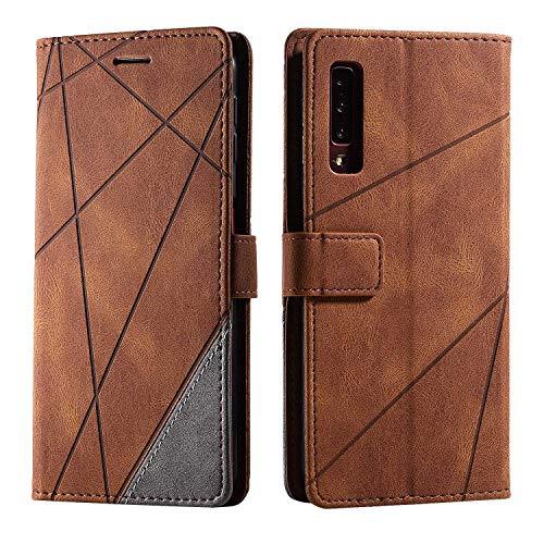 Hülle für Samsung Galaxy A7 2018, SONWO Premium Leder PU Handyhülle Flip Hülle Wallet Silikon Bumper Schutzhülle Klapphülle für Galaxy A7 2018, Braun