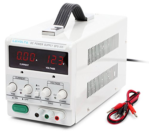 Lavolta 30V 5A Power Supply with Handle - Variable Regulated Adjustable Linear DC Lab Kit with Alligator Leads and US Power Cord