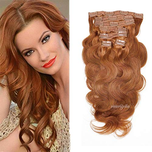 Copper Red Body Wave Human Hair Clip in Extensions 14 Inch Brazilian Virgin Hair Double Weft 7Pcs/lot 120g/set with 16 Clips (14', Copper Red)