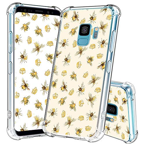 Samsung Galaxy S9 Case Clear,Bee Design Printed Shockproof Scratch Resistant Protective Crystal Clear TPU Phone Cover Case for Samsung Galaxy S9 - Bee Crown