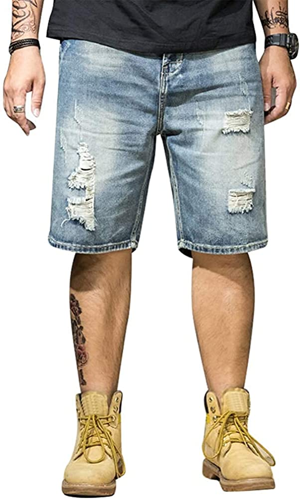 Alilyol Mens Casual Big&Tall Loose Fit Ripped Denim Shorts Summer Ripped Distressed Loose Fit Denim Shorts