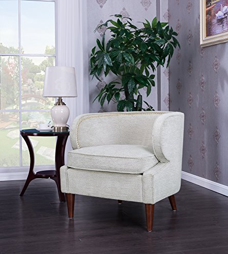 Iconic Home Vered Accent Side Club Chair Chenille Upholstery Polished Brass Finish Nailheads, Beige, Retro Modern
