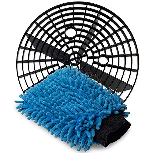 Jork Products Grit Insert Trap Wash Bucket Guard and Microfiber Chenille Wash Mitt Kit