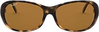 Ray-Ban Women's RB4061 Oval Sunglasses, Havana/Polarized Brown, 55 mm