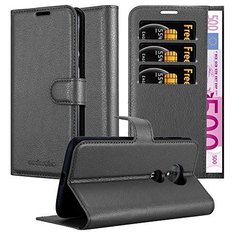 Cadorabo Hülle für Motorola Moto E5 in Phantom SCHWARZ – Handyhülle mit Magnetverschluss, Standfunktion & Kartenfach – Hülle Cover Schutzhülle Etui Tasche Book Klapp Style