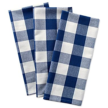 DII Cotton Buffalo Check Plaid Dish Towels, (20x30 , Set of 3) Monogrammable Oversized Kitchen Towels for Drying, Cleaning, Cooking, & Baking - Navy & Cream