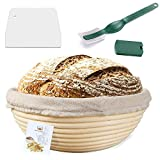 9 Inch Proofing Basket,WERTIOO Bread Proofing Basket + Bread Lame +Dough Scraper+ Linen Liner Cloth for Professional & Home Bakers