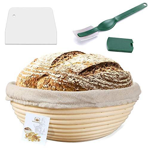 WERTIOO - Cesta para masa de pan, cortador y paño de lino para cocina casera y profesional - Banneton
