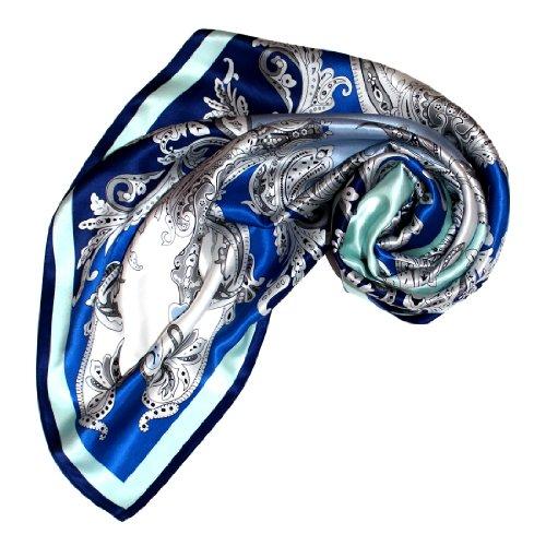 LORENZO CANA Luxus Damen Seidentuch aufwändig bedruckt Tuch 100% Seide 90 cm x 90 cm harmonische Blau Farben Damentuch Schaltuch 89021