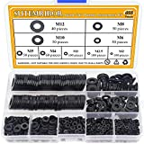 Sutemribor Nylon Flat Washer Assortment Set 600 Pieces, 9 Sizes - M2 M2.5 M3 M4 M5 M6 M8 M10 M12, Black