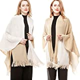 Lovful Women Winter Warm Cashmere Feel Poncho Open Front Blanket Capes Shawl Cardigans Sweater Coat,Beige