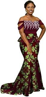 Womens Elegant 2 Piece African Mermaid Gown Off-Shoulder Ankara Tops & Skirt Set