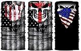 Ussuperstar Patriotic American Flag Printed Bandana Headband Tube Face Mask Neck Warmer 3 Pack for 4TH of July Celebrating,Biking,Camping,Picnic,Outdoor Sports (Skull)