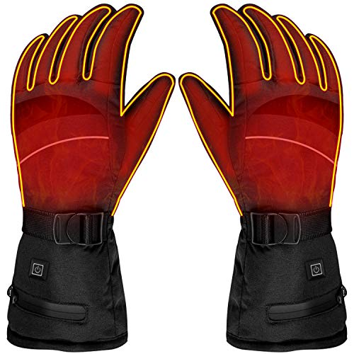 Heated Gloves, Winter Electric Warm Gloves for Men Women 3 Heating Temperature Adjustable with TouchScreen & Waterproof for All Kinds Outdoor Activities/Hiking/Fishing/Skiing/Camping, Black -XL