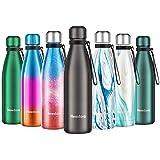 Newdora Bottiglia Acqua in Acciaio Inox 500ml, Tazze da Viaggio, Borraccia Termica Isolamento...