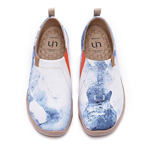 UIN Music Chase Herren Bequeme Reiseturnschuhe Mode gemalte Wanderschuhe Slip On Schuhe Canvas Blau(44)