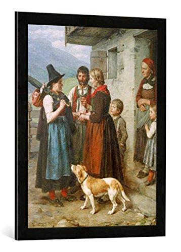 Gerahmtes Bild von Franz von Defregger Willkommene Gäste, Kunstdruck im hochwertigen handgefertigten Bilder-Rahmen, 50x70 cm, Schwarz matt
