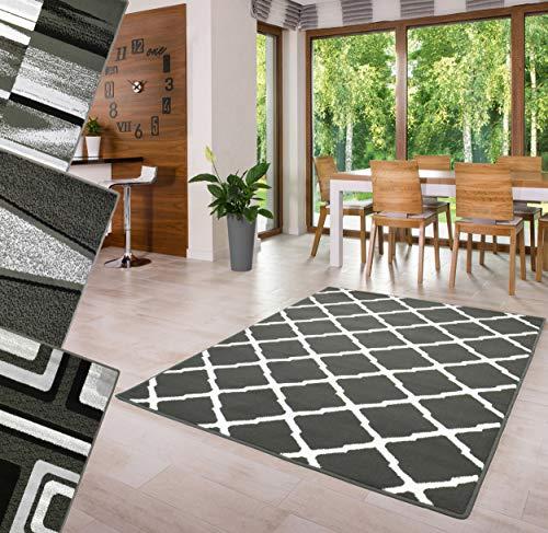 Trendyhome Teppich Kurzflor Wohnzimmer Hochwertig Modern Grau Geeignet für alle Zimmer. (Grau Efez Bcf, 120 cm x 170 cm)